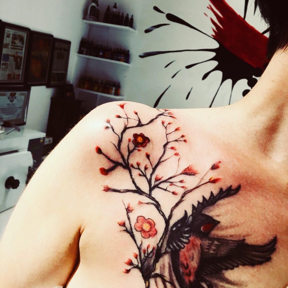 sakura kırlangıç dövmesi