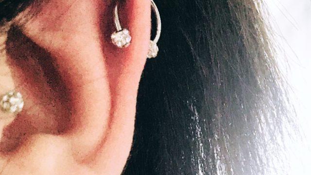 titanyum kıkırdak taşlı piercing