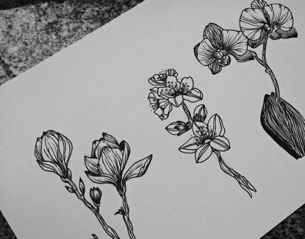 çiçek çizimi dövme modeli