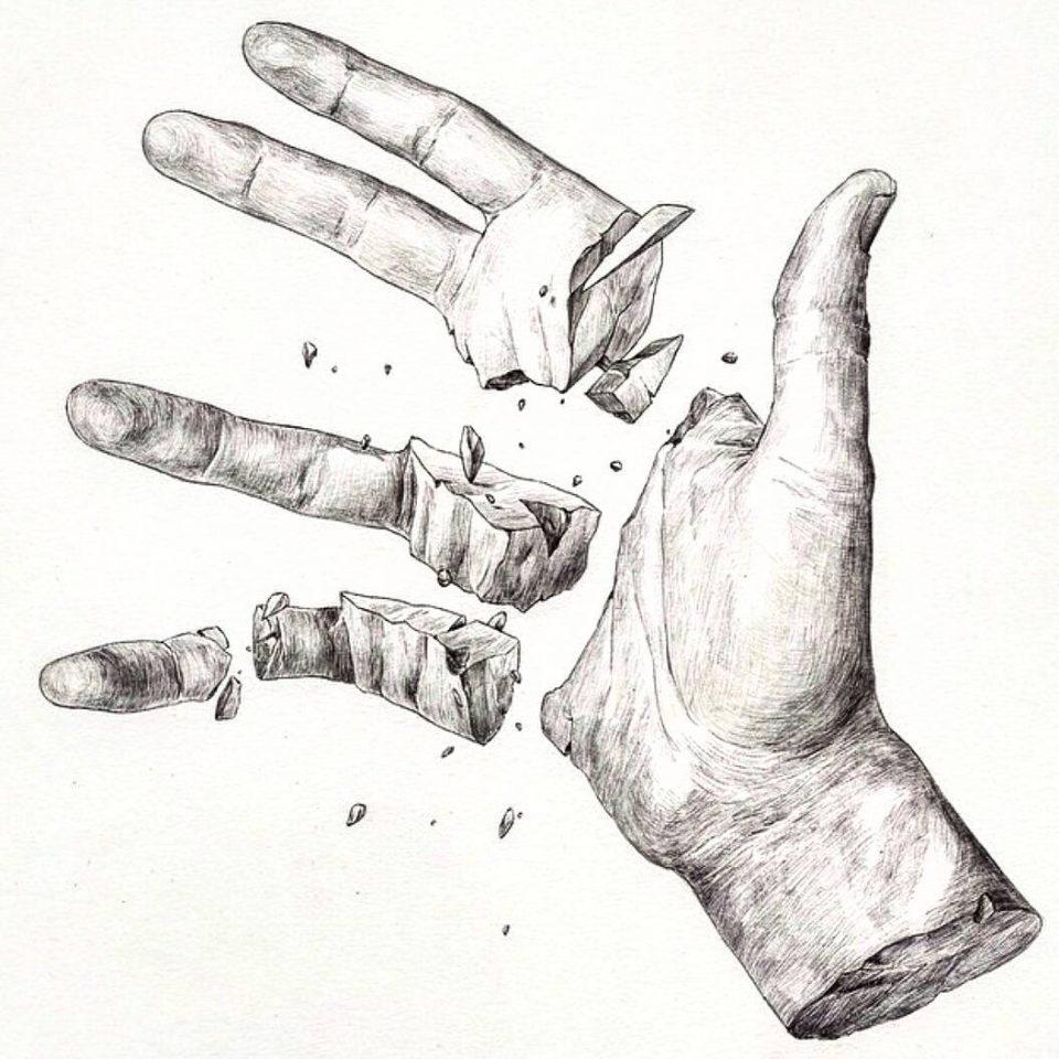kırık el dövme modeli