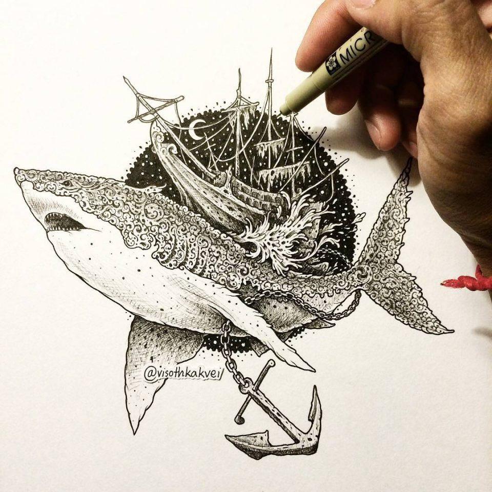 gemi balık dövme modeli