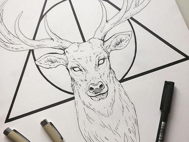 geyik çizim dövme modeli