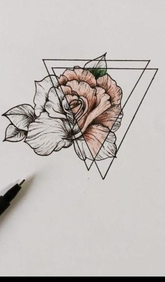 geometrik gül dövme modeli