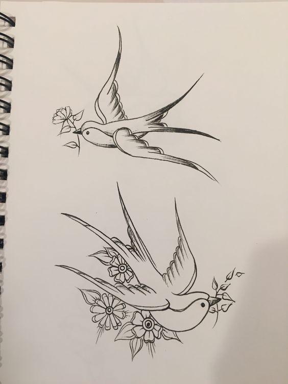 kırlangıç kuş dövme modeli