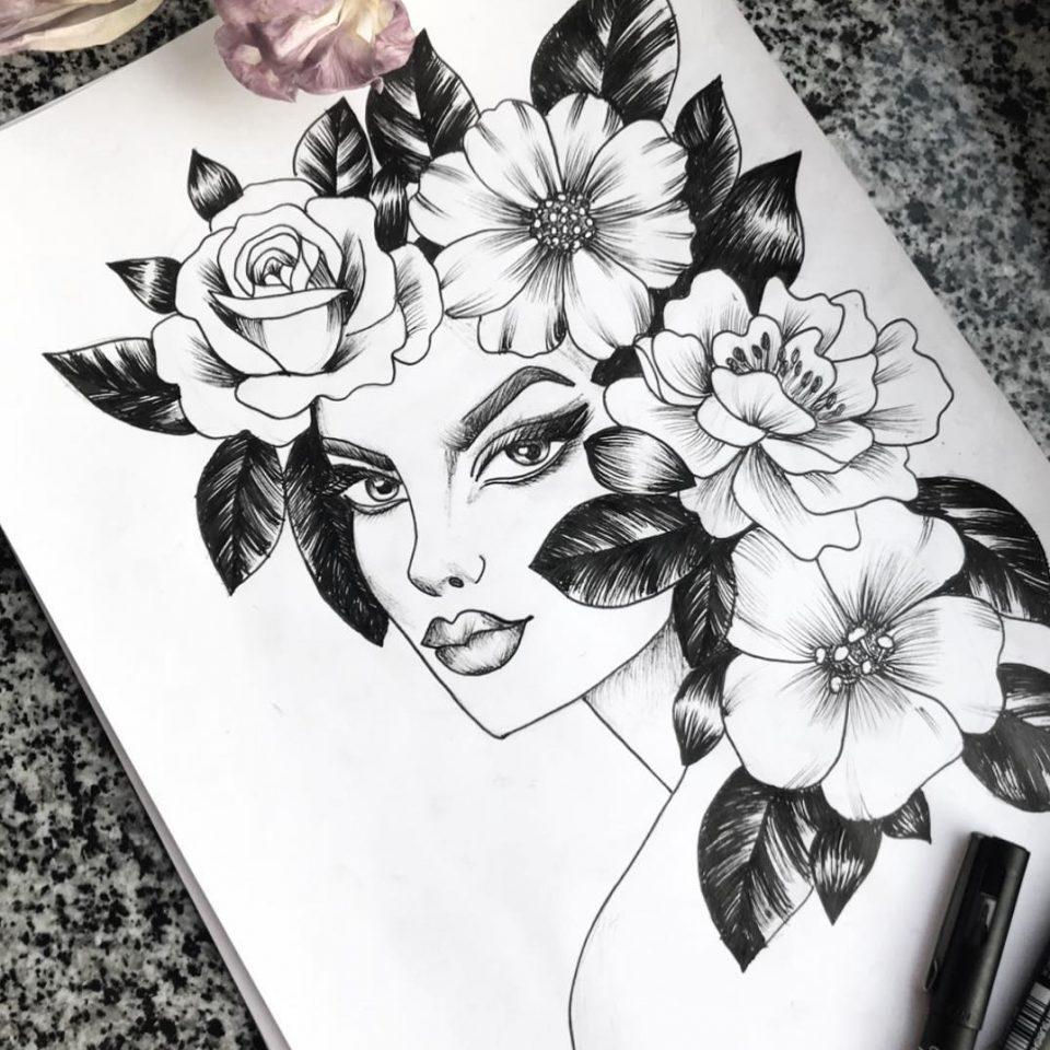 çiçek kadın dövme modeli