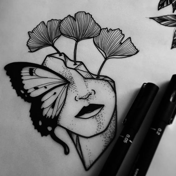 kelebek yüz dövme modeli