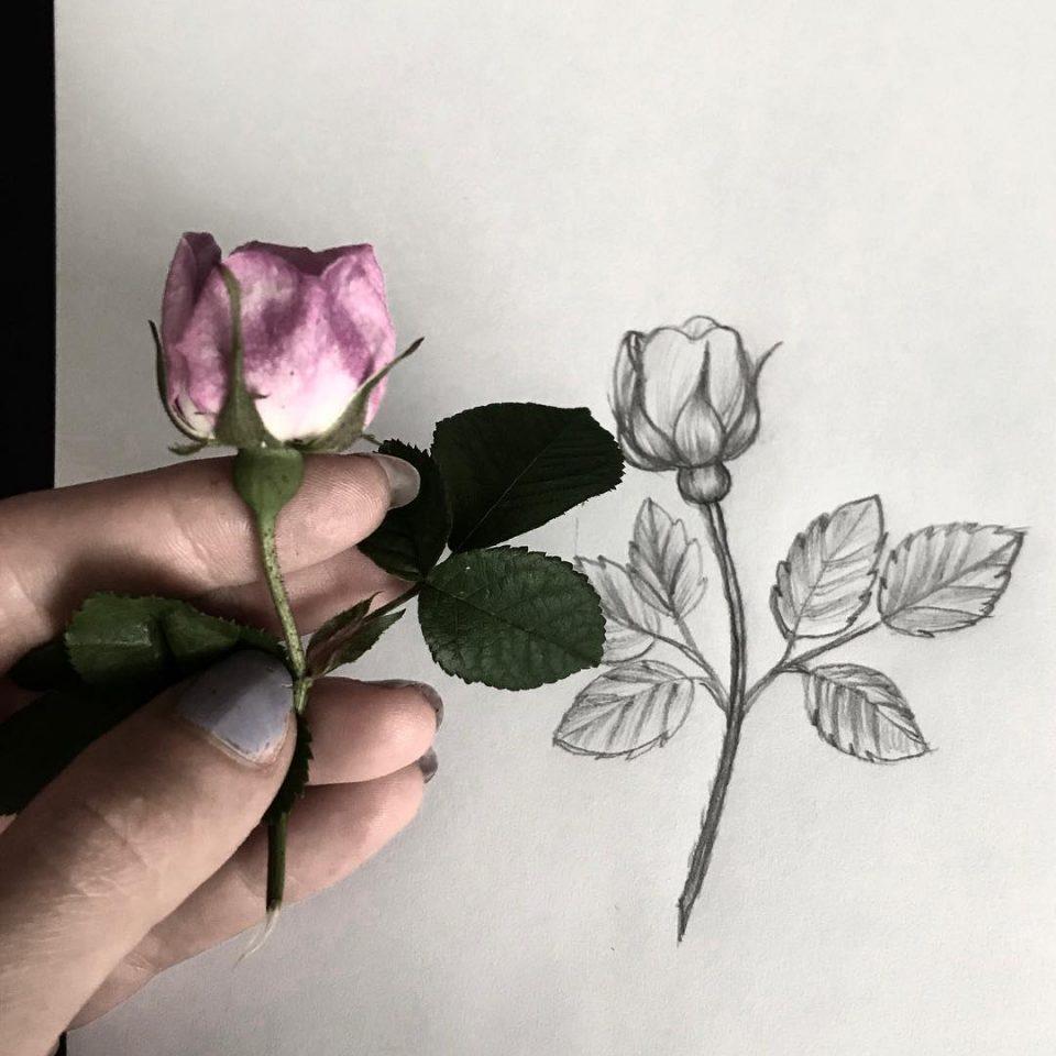 realist çiçek dövme modeli