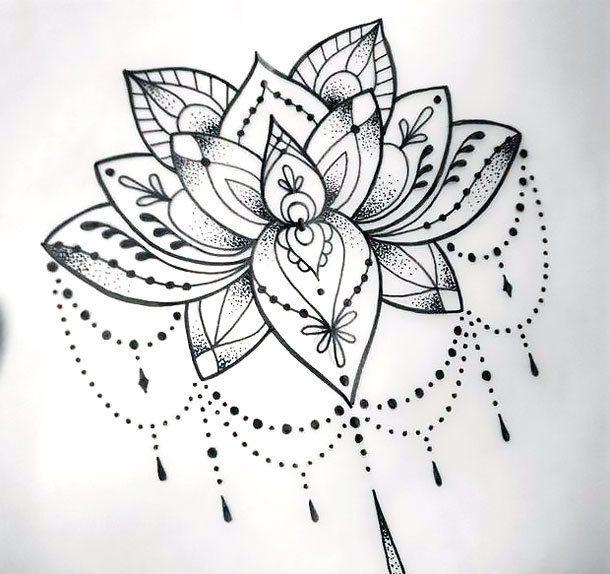 mandala lotus dövme modeli
