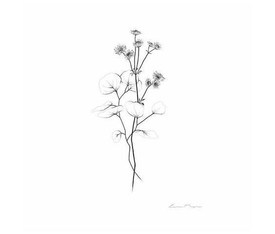minimal çiçek dövme  modeli