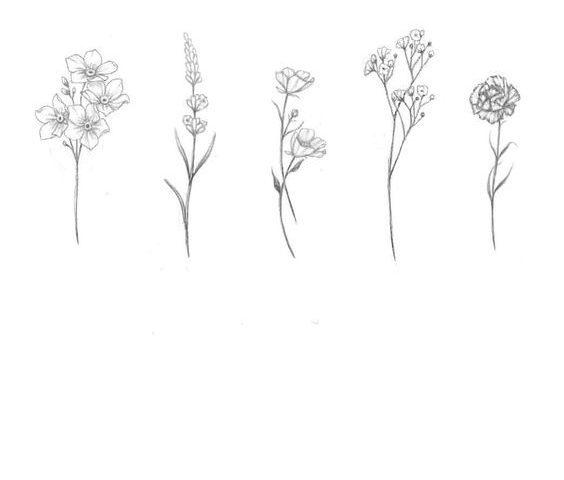 çiçek minimal dövme modeli