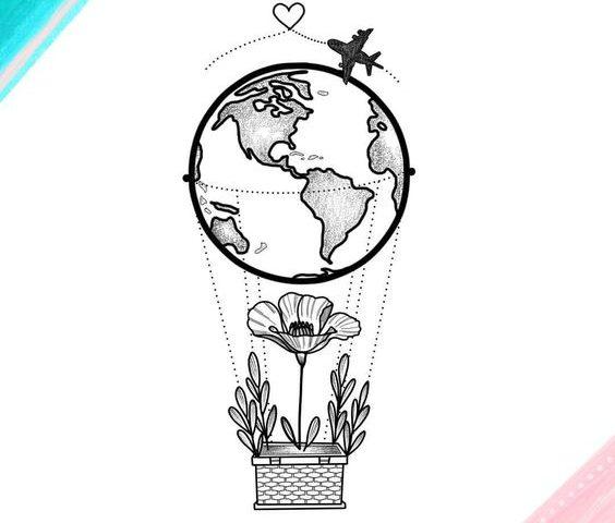 dünya balon dövme modeli