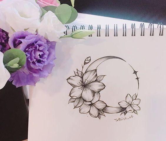 çiçek hilal dövme modeli