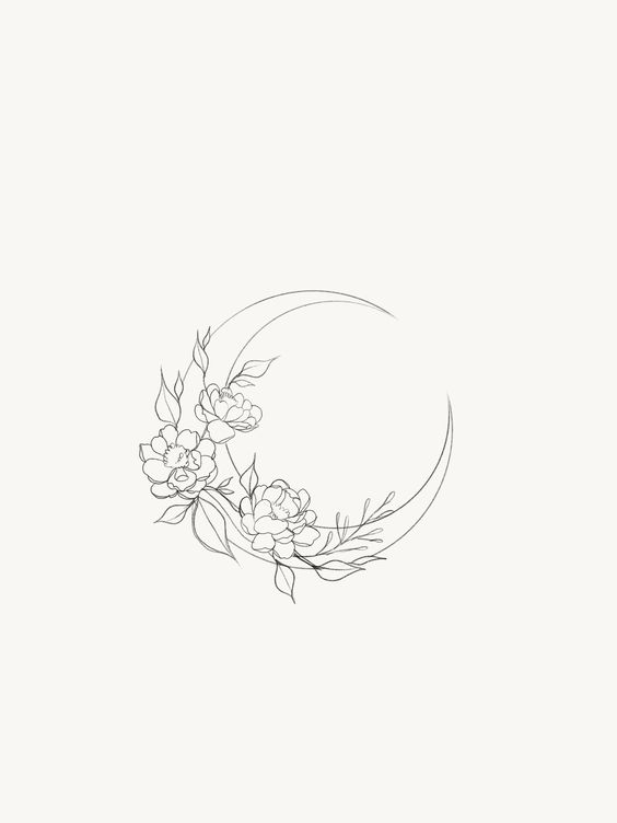 hilal şeklinde çiçek çizimi