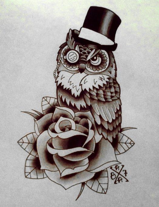 baykuş dövme modeli