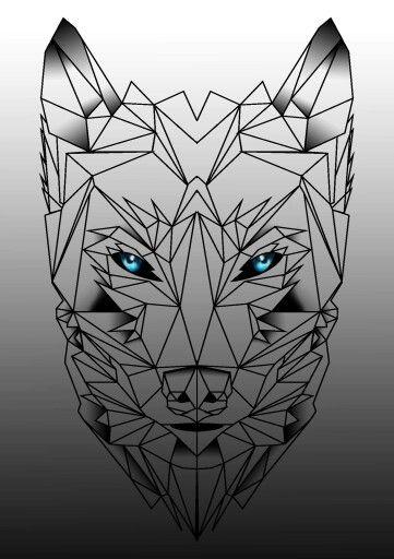 geometrik kurt dövme modeli