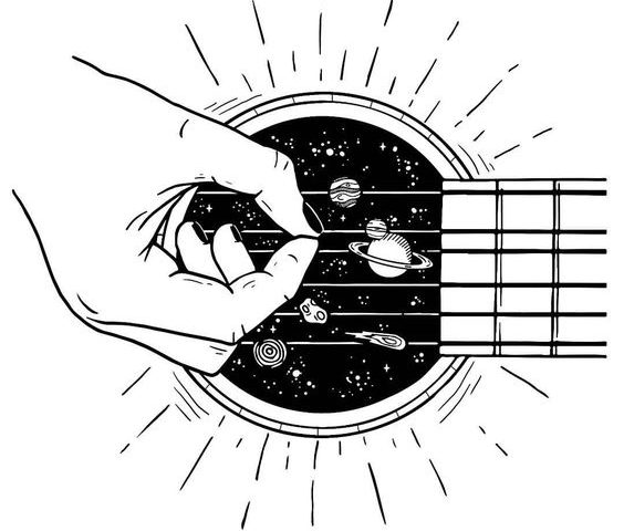 gitar gezegen dövme modeli