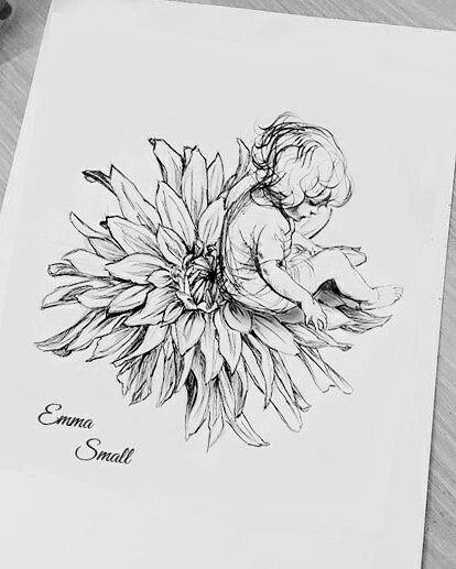 çiçek çocuk dövme modeli
