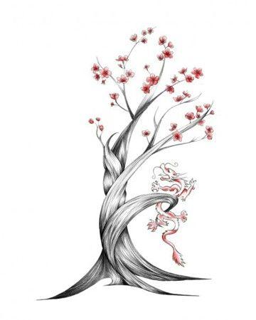 agaç çiçek dövme modeli