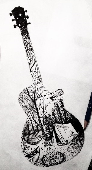 gitar orman dövme modeli
