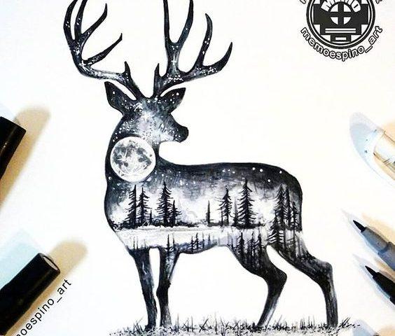 geyik orman dövme modeli